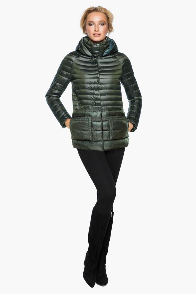 """Трендовая куртка женская цвет темный хаки модель 15115 Braggart """"Angel's Fluff"""" фото 2"""