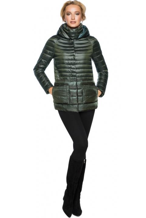 """Трендова куртка жіноча колір темний хакі модель 15115 Braggart """"Angel's Fluff"""" фото 1"""