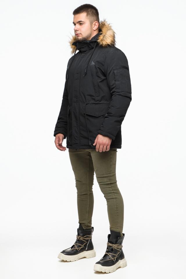 Черная парка мужская молодежная зимняя модель 25770