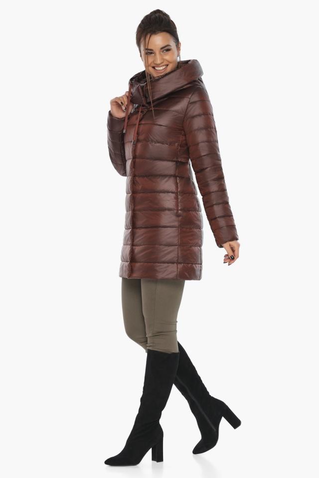 """Каштановая куртка женская осенне-весенняя с карманами модель 65085 Braggart """"Angel's Fluff"""" фото 2"""