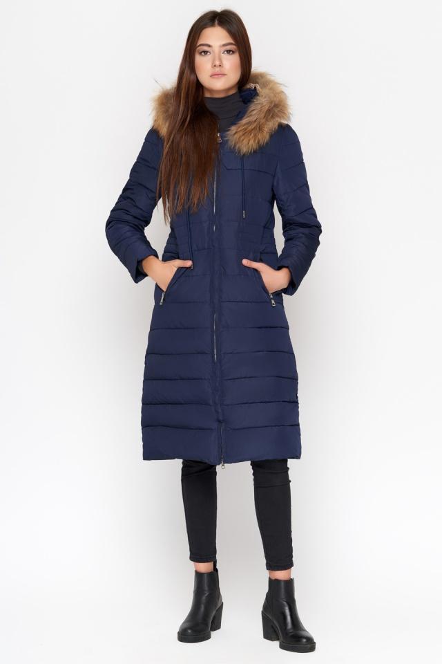 Синяя куртка женская удобная зимняя модель 9615 Kiro Tokao фото 2