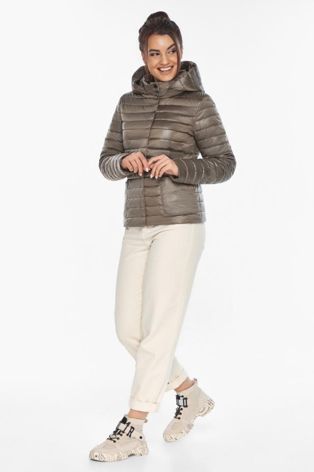 """Капучиновая куртка с накладными карманами женская на весну модель 67510 Braggart """"Angel's Fluff"""" фото 2"""