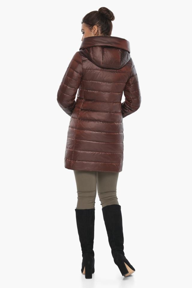 """Каштановая куртка женская осенне-весенняя с карманами модель 65085 Braggart """"Angel's Fluff"""" фото 4"""