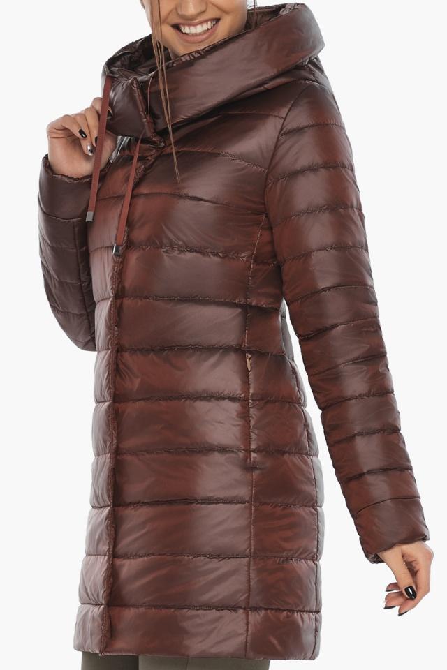 """Каштановая куртка женская осенне-весенняя с карманами модель 65085 Braggart """"Angel's Fluff"""" фото 5"""