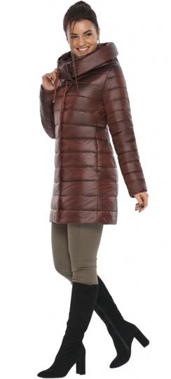 """Каштановая куртка женская осенне-весенняя с карманами модель 65085 Braggart """"Angel's Fluff"""" фото 1"""
