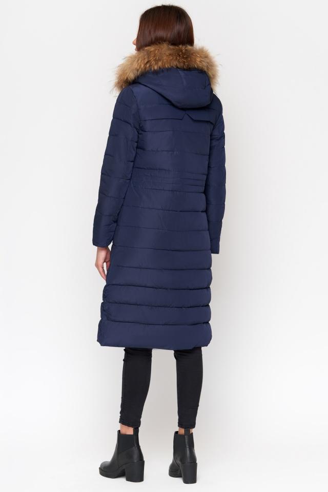 Синяя куртка женская удобная зимняя модель 9615