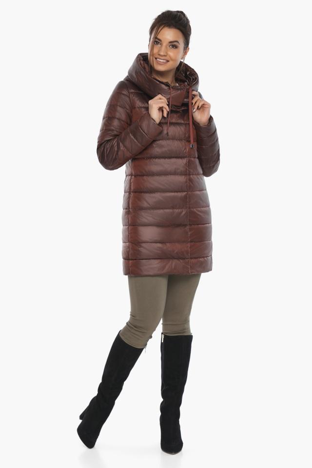 """Каштановая куртка женская осенне-весенняя с карманами модель 65085 Braggart """"Angel's Fluff"""" фото 3"""