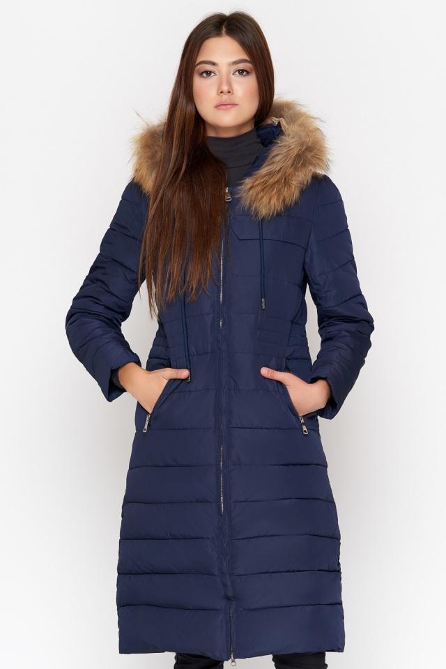 Синяя куртка женская удобная зимняя модель 9615 Kiro Tokao фото 4
