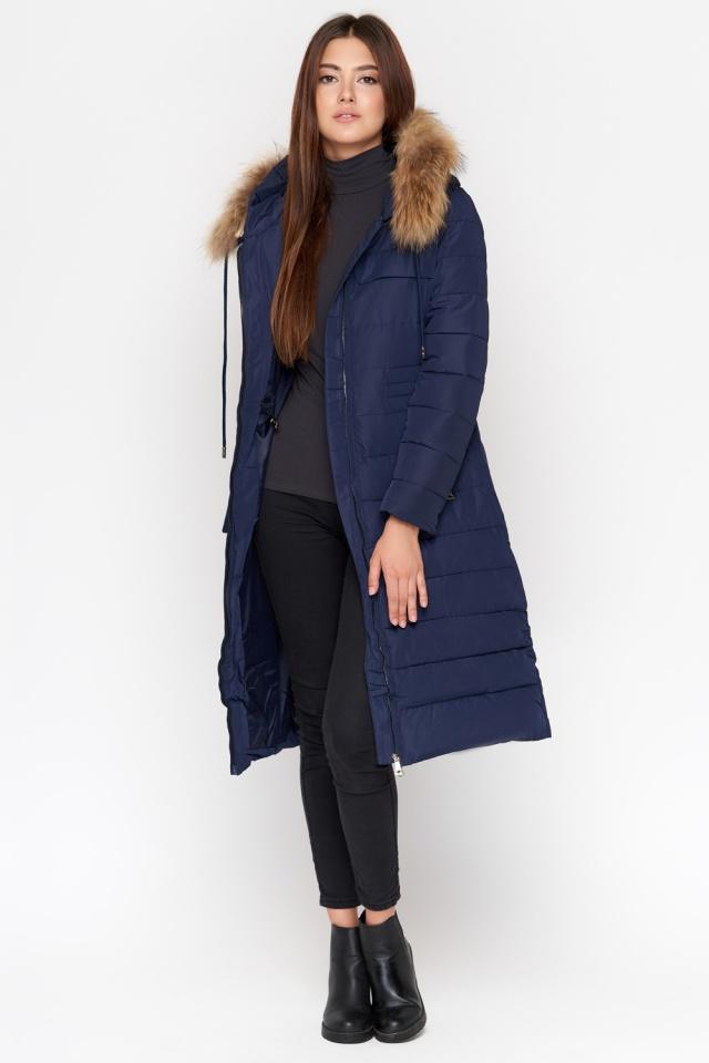 Синяя куртка женская удобная зимняя модель 9615 Kiro Tokao фото 3