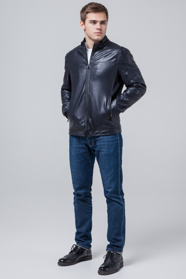"""Кожаная подростковая куртка для мальчиков тёмно-синяя модель 4834 Braggart """"Youth"""" фото 2"""