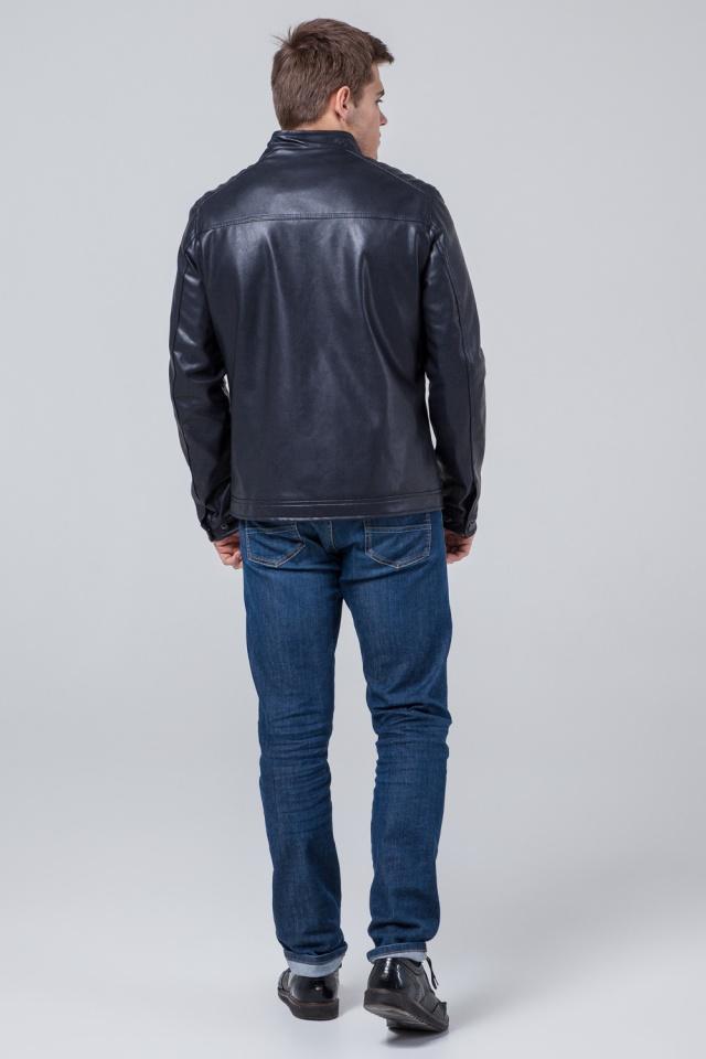 """Кожаная подростковая куртка для мальчиков тёмно-синяя модель 4834 Braggart """"Youth"""" фото 5"""