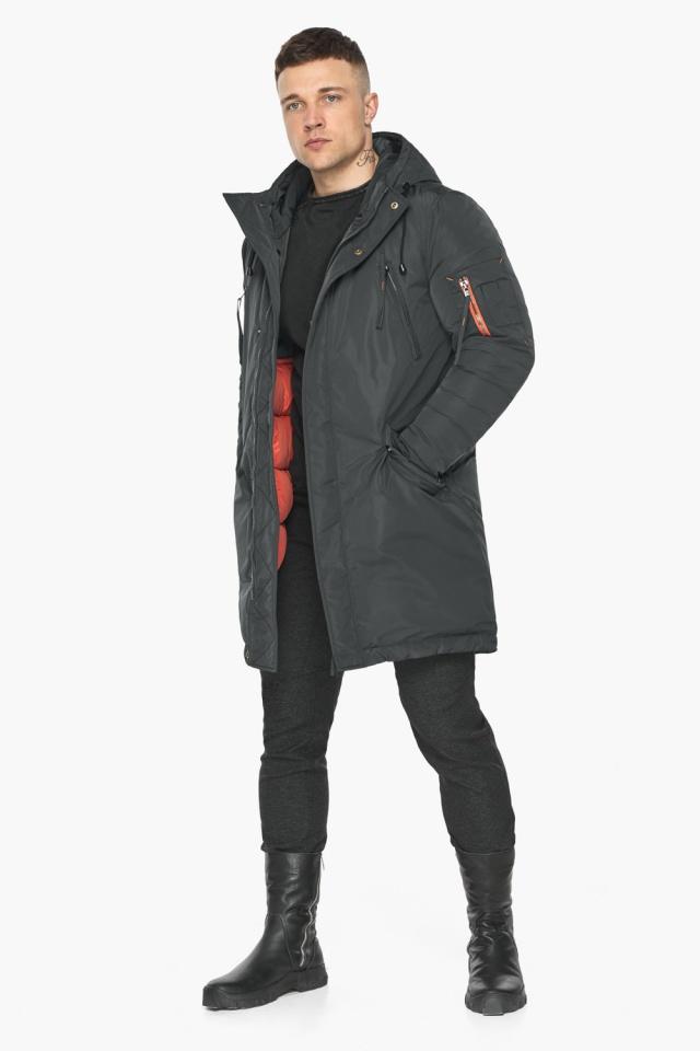 """Куртка – воздуховик графитово-синий практичный зимний для мужчин модель 30816 Braggart """"Angel's Fluff Man"""" фото 3"""