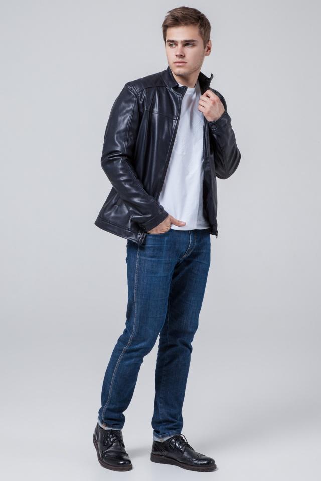 """Кожаная подростковая куртка для мальчиков тёмно-синяя модель 4834 Braggart """"Youth"""" фото 3"""