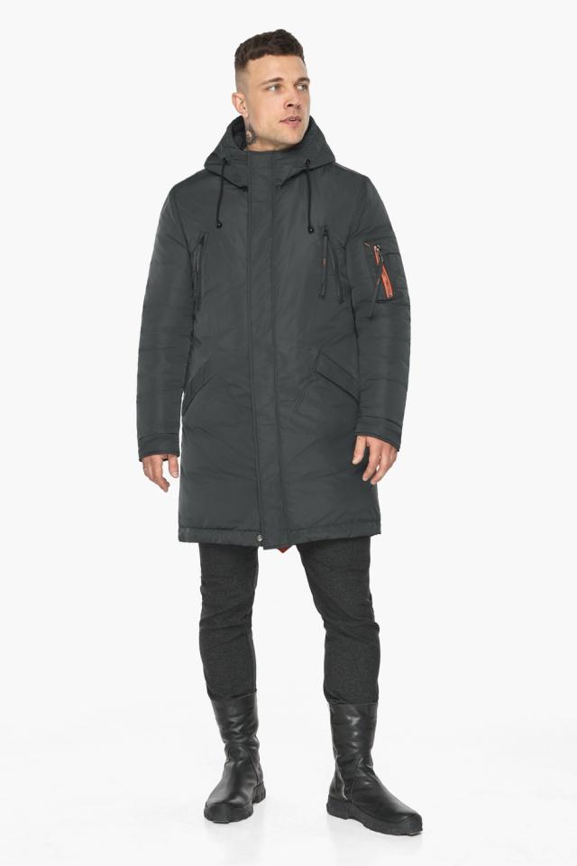 """Куртка – воздуховик графитово-синий практичный зимний для мужчин модель 30816 Braggart """"Angel's Fluff Man"""" фото 6"""