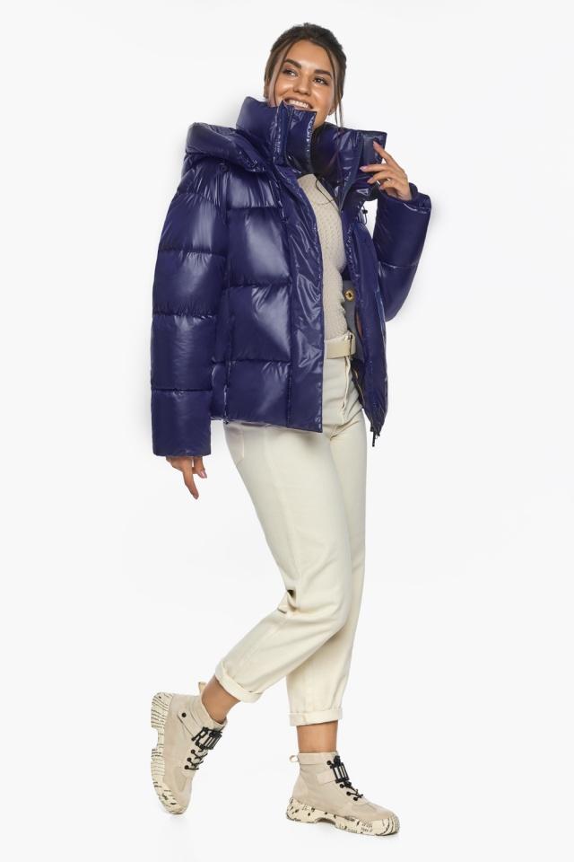 """Куртка женская синяя зимняя с длинными манжетами модель 44210 Braggart """"Angel's Fluff"""" фото 3"""