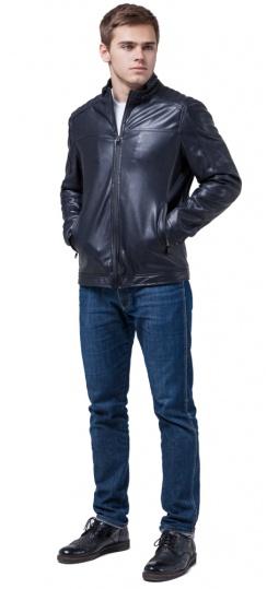 """Кожаная подростковая куртка для мальчиков тёмно-синяя модель 4834 Braggart """"Youth"""" фото 1"""