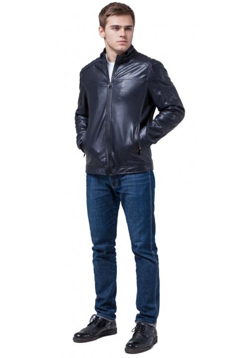 """Шкіряна підліткова куртка для хлопчиків темно-синя модель 4834 Braggart """"Youth"""" фото 1"""