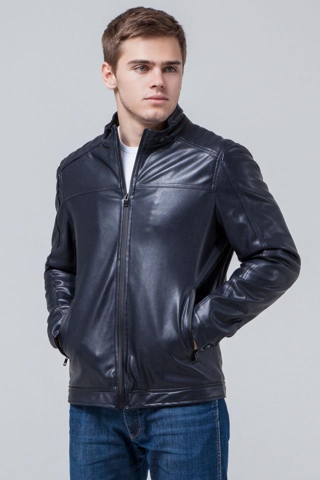 """Кожаная подростковая куртка для мальчиков тёмно-синяя модель 4834 Braggart """"Youth"""" фото 4"""
