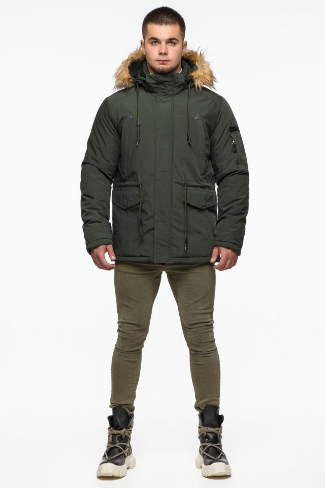 "Темно-зеленая мужская зимняя парка с капюшоном модель 25770 Braggart ""Youth"" фото 2"