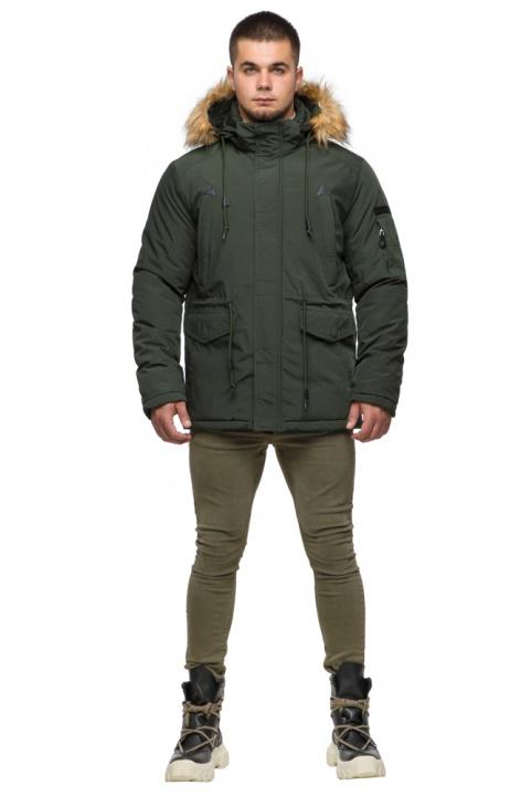 """Темно-зелена чоловіча зимова парка з капюшоном модель 25770 Braggart """"Youth"""" фото 1"""