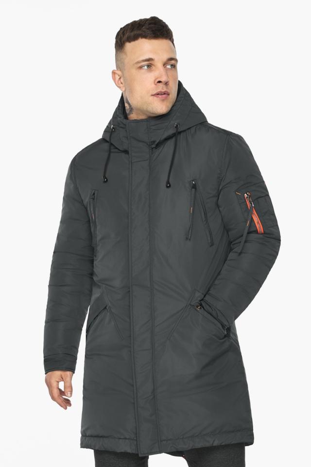 """Куртка – воздуховик графитово-синий практичный зимний для мужчин модель 30816 Braggart """"Angel's Fluff Man"""" фото 4"""