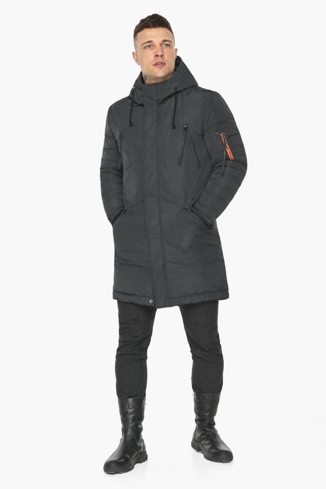 """Куртка – воздуховик графитово-синий практичный зимний для мужчин модель 30816 Braggart """"Angel's Fluff Man"""" фото 2"""