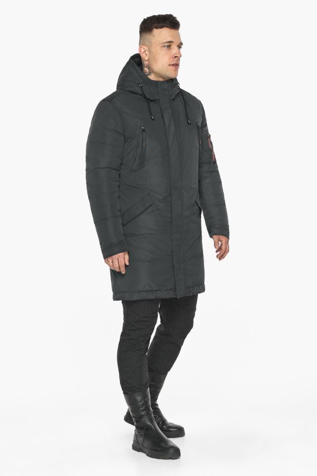 """Куртка – воздуховик графитово-синий практичный зимний для мужчин модель 30816 Braggart """"Angel's Fluff Man"""" фото 7"""