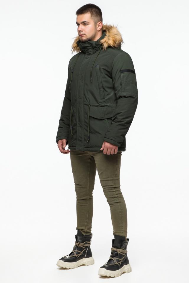 "Темно-зеленая мужская зимняя парка с капюшоном модель 25770 Braggart ""Youth"" фото 4"