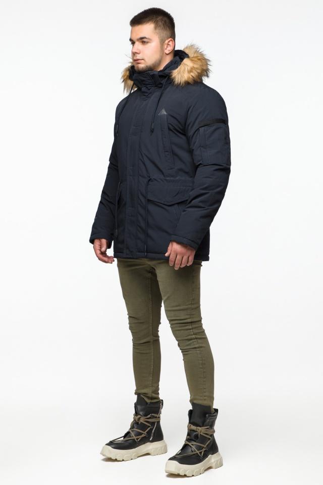 "Мужская парка с кулиской темно-синяя зимняя модель 25770 Braggart ""Youth"" фото 4"
