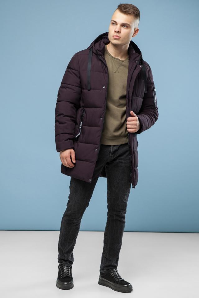 Зимняя куртка бордового цвета мужская модель 6007 Kiro Tokao – Ajento фото 3