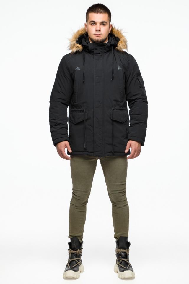 """Короткая черная парка мужская зимняя модель 25770 Braggart """"Youth"""" фото 2"""