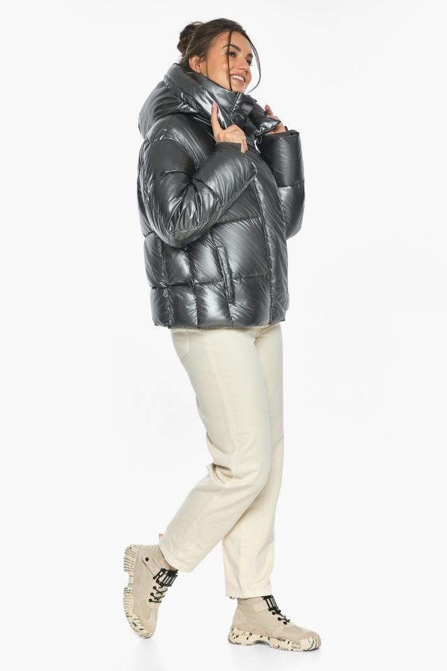 """Куртка женская зимняя фирменная цвет темное серебро модель 44210 Braggart """"Angel's Fluff"""" фото 3"""