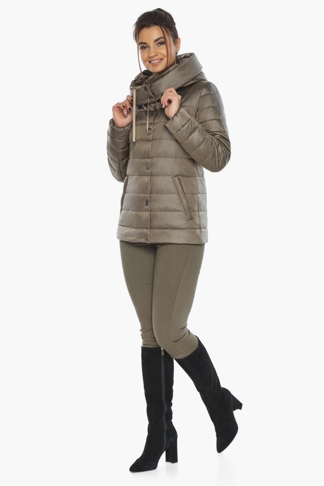 """Жіноча куртка на блискавці осінньо-весняна капучинова модель 61030 Braggart """"Angel's Fluff"""" фото 3"""