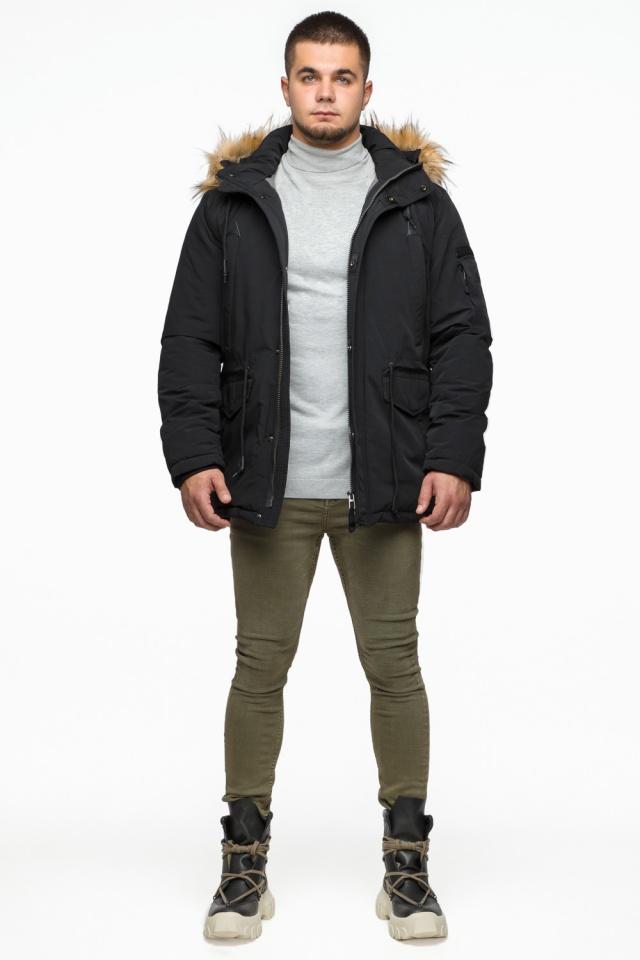 """Короткая черная парка мужская зимняя модель 25770 Braggart """"Youth"""" фото 3"""