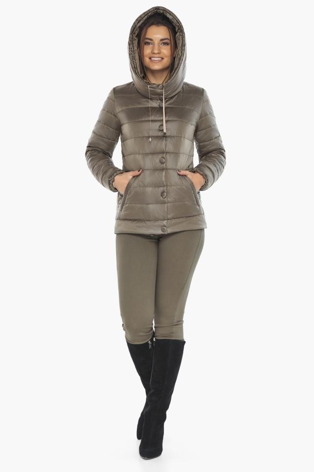 """Жіноча куртка на блискавці осінньо-весняна капучинова модель 61030 Braggart """"Angel's Fluff"""" фото 2"""