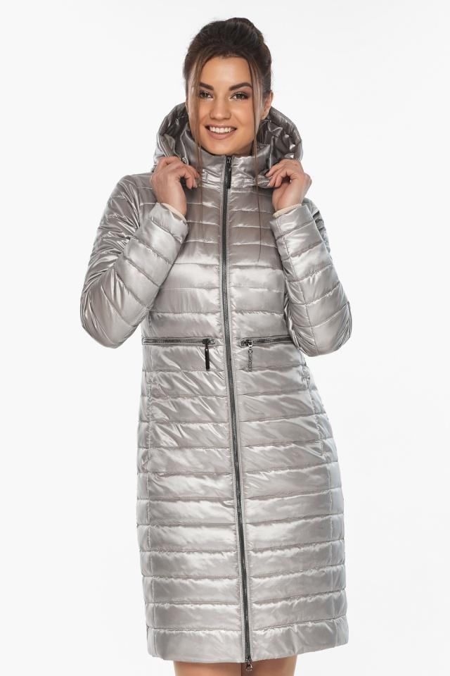 """Куртка осенняя практичная женская цвет перламутровый светло-серый модель 68410 Braggart """"Angel's Fluff"""" фото 3"""