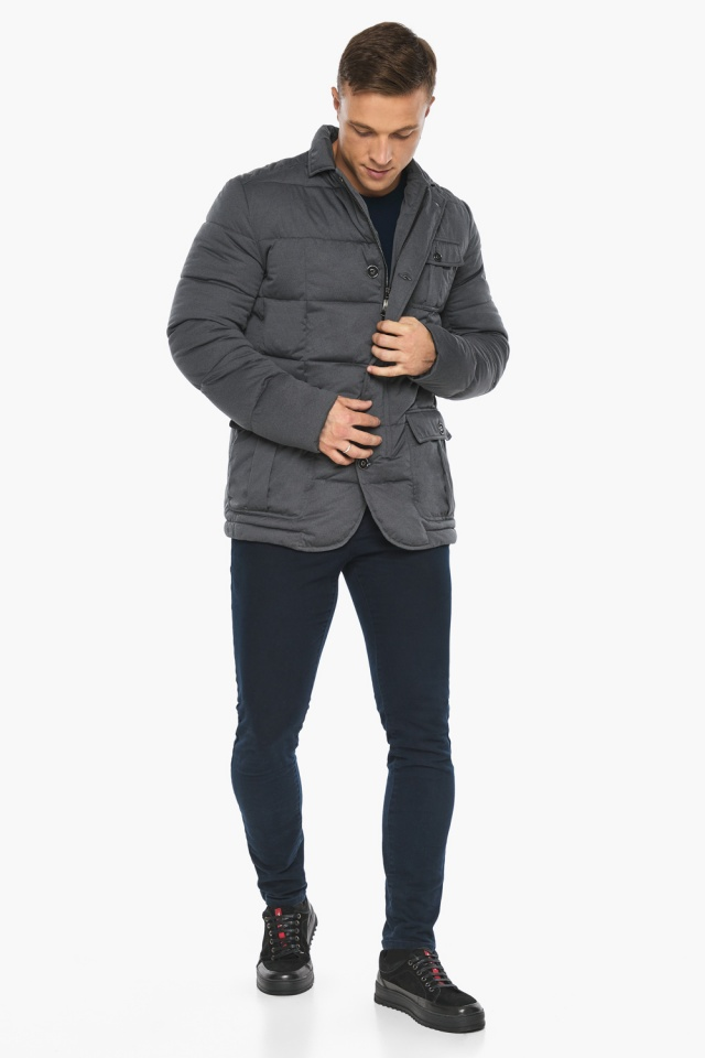 """Куртка – воздуховик короткий мужской зимний цвет мокрый асфальт модель 35230 Braggart """"Angel's Fluff Man"""" фото 7"""