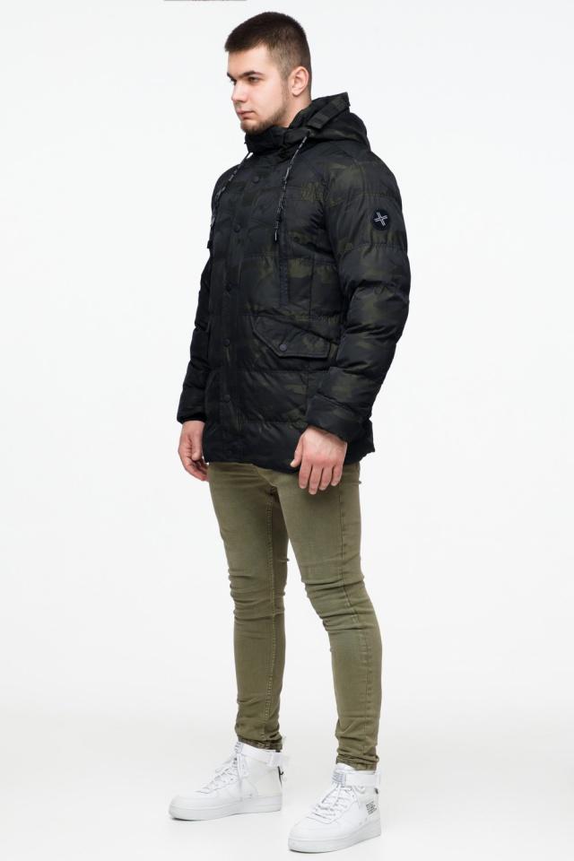 "Мужская темно-зеленая куртка с карманами зимняя модель 25140 Braggart ""Youth"" фото 4"