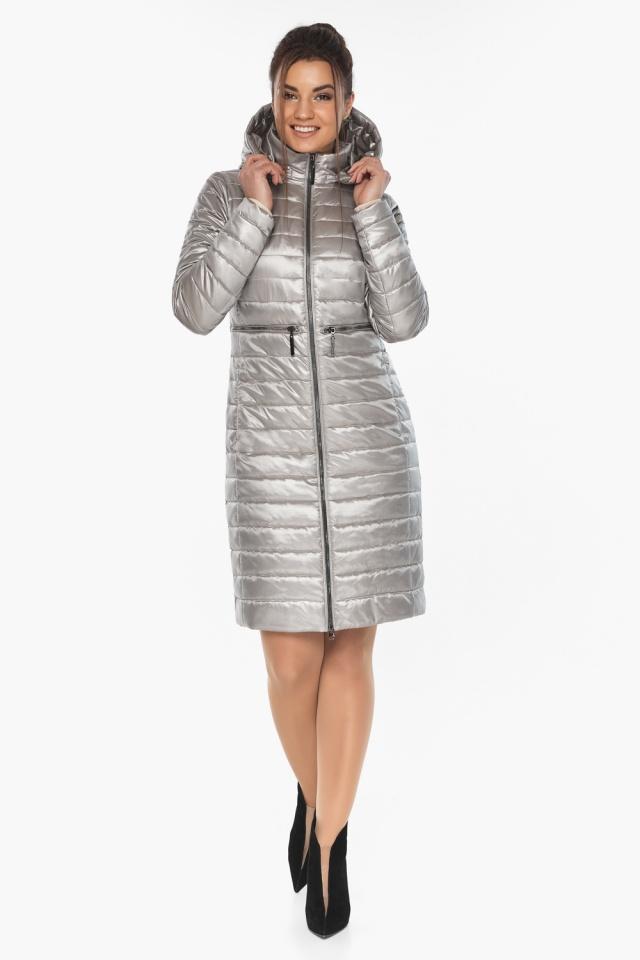 """Куртка осенняя практичная женская цвет перламутровый светло-серый модель 68410 Braggart """"Angel's Fluff"""" фото 6"""