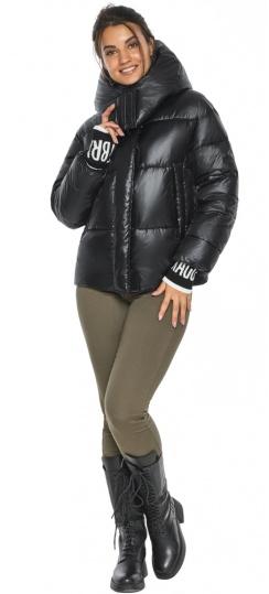"""Куртка черная осенне-весенняя женская с капюшоном модель 44520 Braggart """"Angel's Fluff"""" фото 1"""