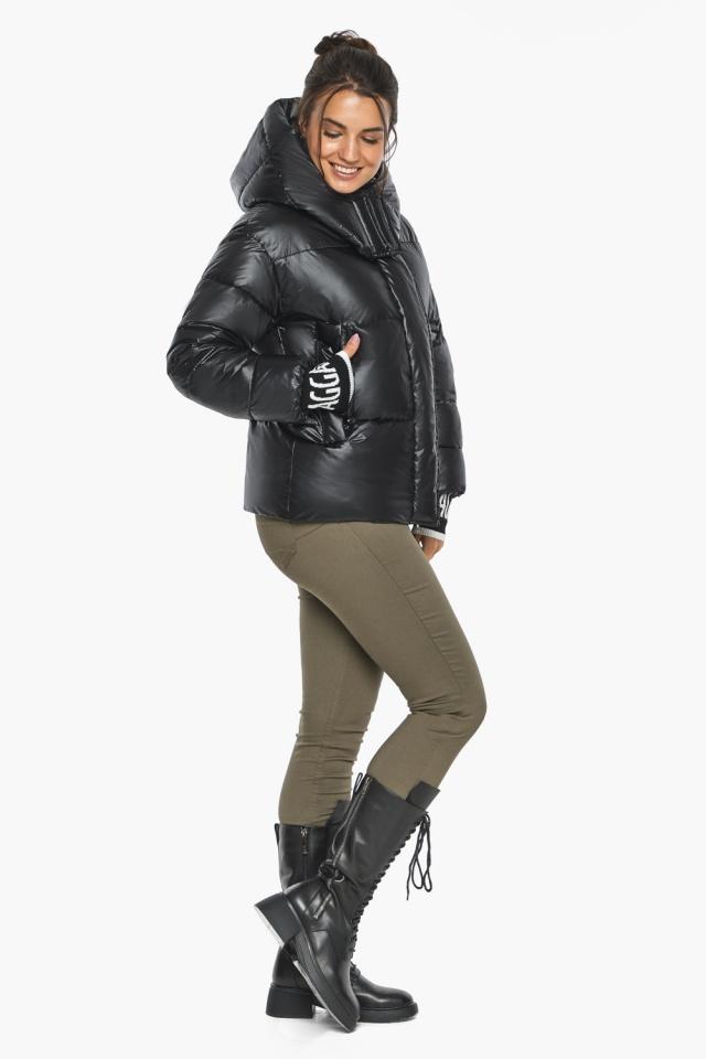 """Куртка черная зимняя женская с капюшоном модель 44520 Braggart """"Angel's Fluff"""" фото 3"""
