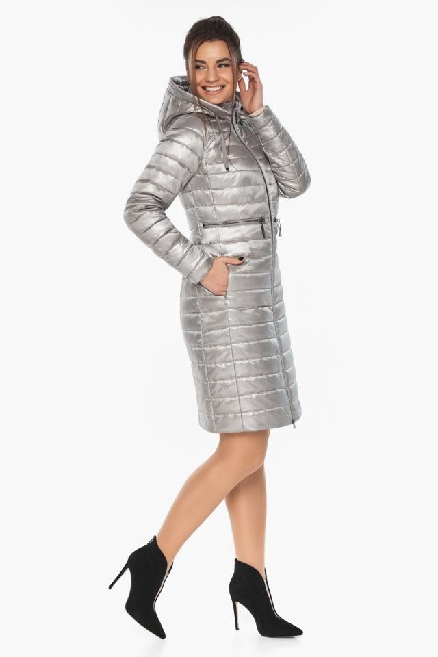 """Куртка осенняя практичная женская цвет перламутровый светло-серый модель 68410 Braggart """"Angel's Fluff"""" фото 4"""