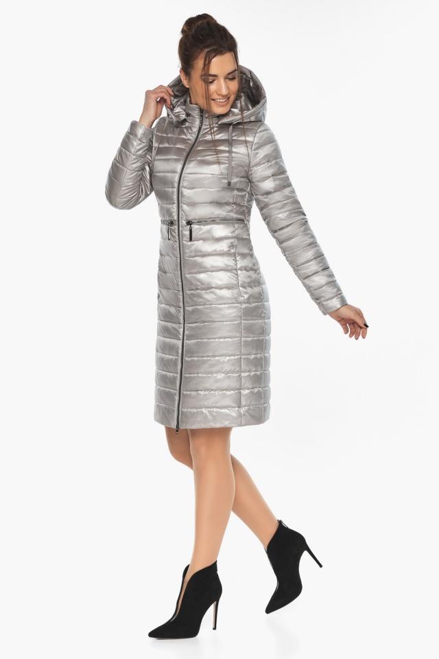 """Куртка осенняя практичная женская цвет перламутровый светло-серый модель 68410 Braggart """"Angel's Fluff"""" фото 5"""