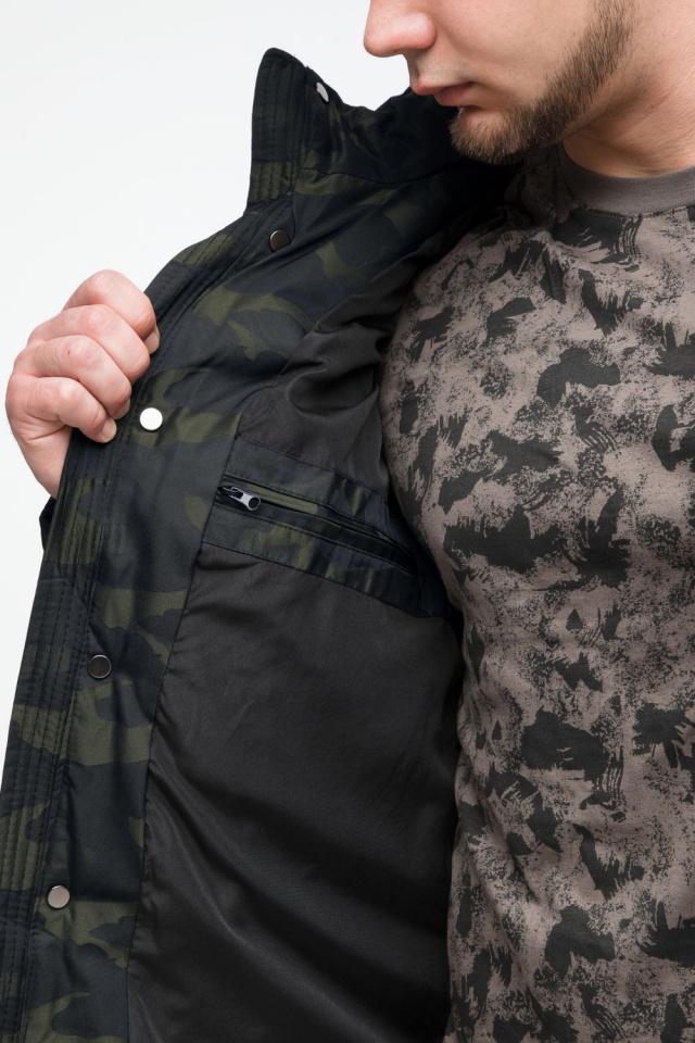 "Мужская темно-зеленая куртка с карманами зимняя модель 25140 Braggart ""Youth"" фото 9"