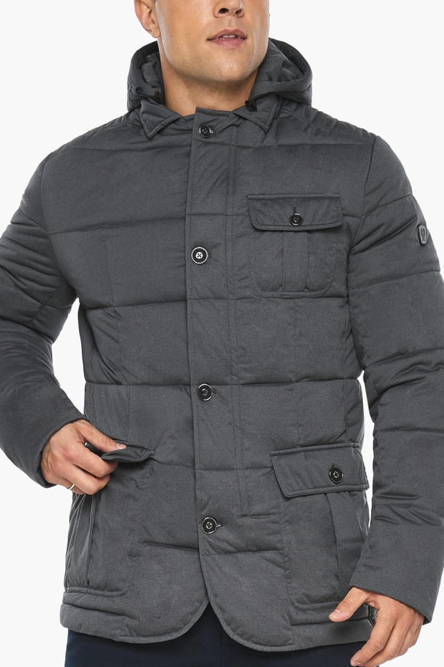 """Куртка – воздуховик короткий мужской зимний цвет мокрый асфальт модель 35230 Braggart """"Angel's Fluff Man"""" фото 10"""