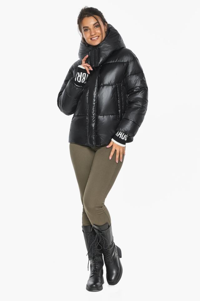 """Куртка черная зимняя женская с капюшоном модель 44520 Braggart """"Angel's Fluff"""" фото 2"""