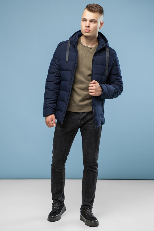 Зимняя куртка с капюшоном мужская цвет темно-синий модель 6008 Kiro Tokao – Ajento фото 3