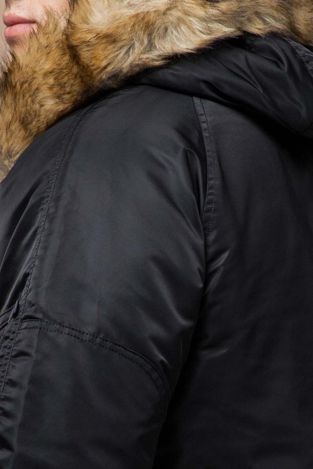 Черная парка зимняя мужская с опушкой модель 4137