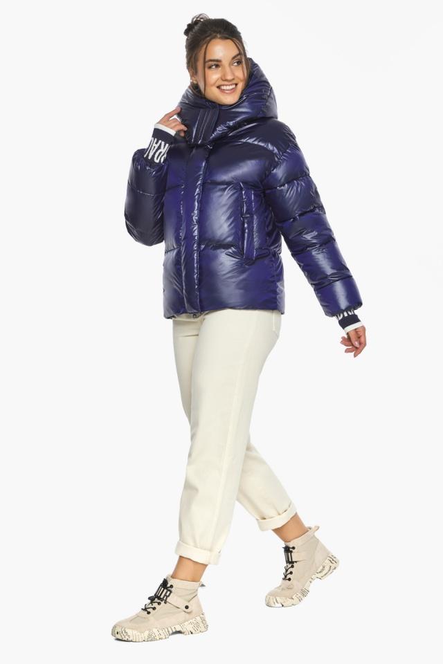 """Куртка синяя короткая зимняя женская модель 44520 Braggart """"Angel's Fluff"""" фото 3"""