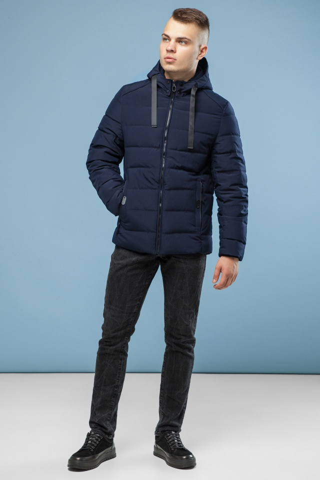 Зимняя куртка с капюшоном мужская цвет темно-синий модель 6008